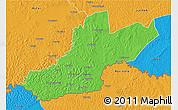 Political 3D Map of Zemio