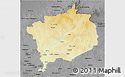 Physical 3D Map of Haute-Kotto, darken, desaturated