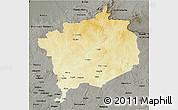 Physical 3D Map of Haute-Kotto, darken, semi-desaturated