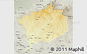 Physical 3D Map of Haute-Kotto, semi-desaturated