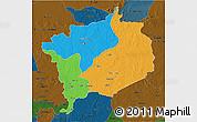 Political 3D Map of Haute-Kotto, darken