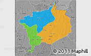 Political 3D Map of Haute-Kotto, desaturated