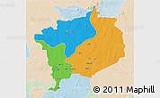 Political 3D Map of Haute-Kotto, lighten