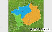 Political 3D Map of Haute-Kotto, satellite outside