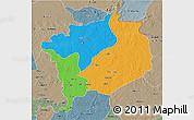 Political 3D Map of Haute-Kotto, semi-desaturated