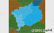 Political Shades 3D Map of Haute-Kotto, darken