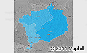 Political Shades 3D Map of Haute-Kotto, desaturated