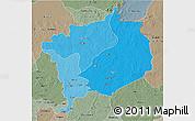 Political Shades 3D Map of Haute-Kotto, semi-desaturated