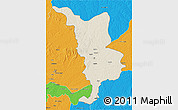 Shaded Relief 3D Map of Bria, political outside