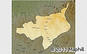 Physical 3D Map of Ouadda, darken
