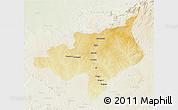 Physical 3D Map of Ouadda, lighten