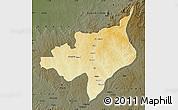 Physical Map of Ouadda, darken