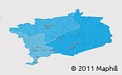 Political Shades Panoramic Map of Haute-Kotto, cropped outside