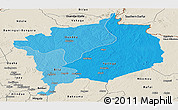 Political Shades Panoramic Map of Haute-Kotto, shaded relief outside