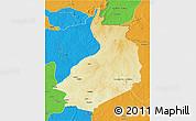 Physical 3D Map of Yalinga, political outside