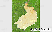Physical 3D Map of Yalinga, satellite outside