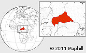 Blank Location Map of Central African Republic