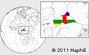 Flag Location Map of Central African Republic, blank outside