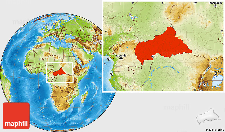 Physical Location Map Of Central African Republic - Central africa map