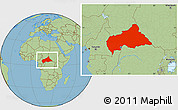 Savanna Style Location Map of Central African Republic
