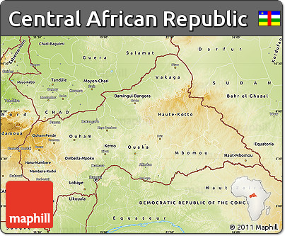 Free Physical Map of Central African Republic