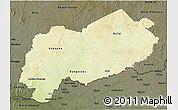Physical 3D Map of Mbomou, darken