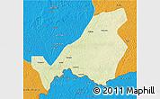 Physical 3D Map of Bangassou, political outside