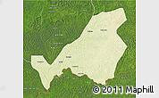 Physical 3D Map of Bangassou, satellite outside