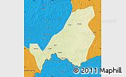 Physical Map of Bangassou, political outside