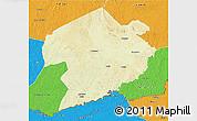 Physical 3D Map of Rafai, political outside