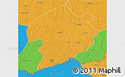 Political 3D Map of Rafai