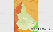 Physical Map of Nana-Gribingui, political shades outside
