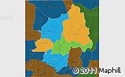 Political 3D Map of Ouaka, darken