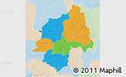 Political 3D Map of Ouaka, lighten