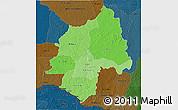 Political Shades 3D Map of Ouaka, darken