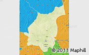 Physical Map of Bakala, political outside