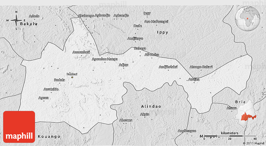 Silver Style 3D Map of Bambari