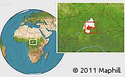 Satellite Location Map of Bambari, highlighted parent region