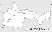 Silver Style Simple Map of Bambari, cropped outside