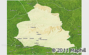 Physical Panoramic Map of Ippy, satellite outside