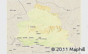 Physical Panoramic Map of Ippy, shaded relief outside