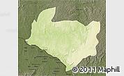 Physical 3D Map of Kouango, darken