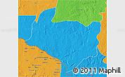 Political 3D Map of Kouango