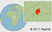 Savanna Style Location Map of Ouaka