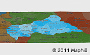 Political Shades Panoramic Map of Central African Republic, darken
