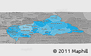 Political Shades Panoramic Map of Central African Republic, desaturated