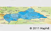 Political Shades Panoramic Map of Central African Republic, physical outside