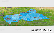 Political Shades Panoramic Map of Central African Republic, satellite outside