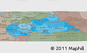Political Shades Panoramic Map of Central African Republic, semi-desaturated