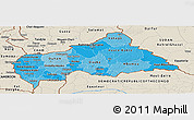 Political Shades Panoramic Map of Central African Republic, shaded relief outside